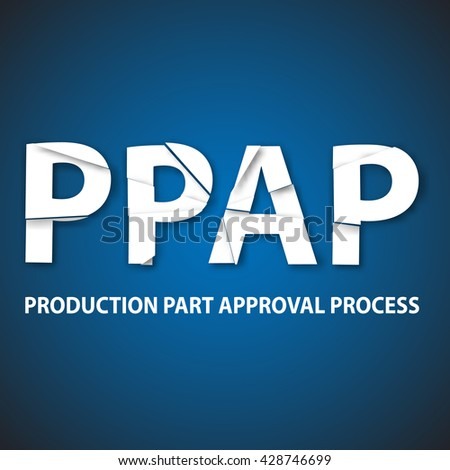Vector illustration of production part approval process method. PPAP industrial strategy vector background.