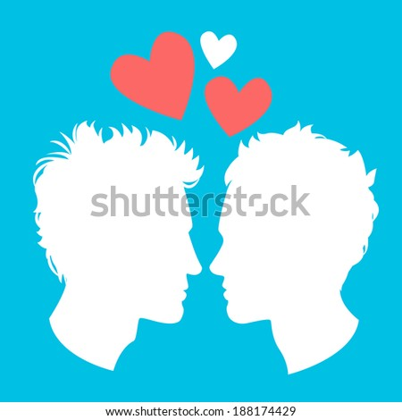 Vector Illustration of Profiles of two men homosexual couple