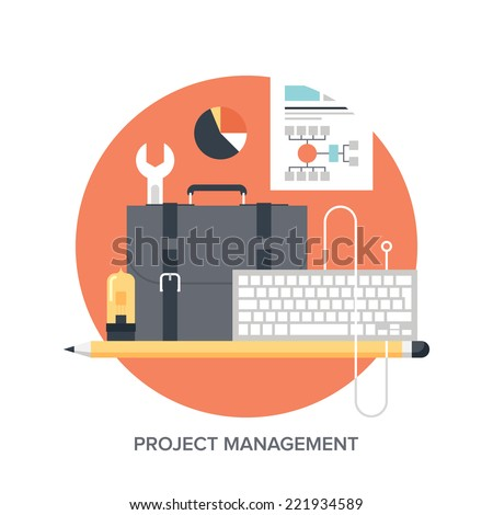 Vector illustration of project management flat design concept. - stock vector