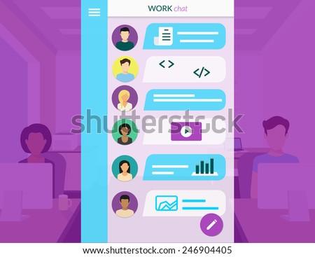 Vector illustration of project team communication via mobile app - stock vector