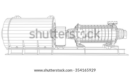 Vector illustration of pumping unit oil industry. Created illustration of 3d.