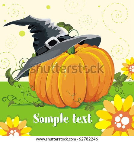 Vector illustration of pumpkin in hat. Abstract Classical congratulation poster for design with Place for your text.