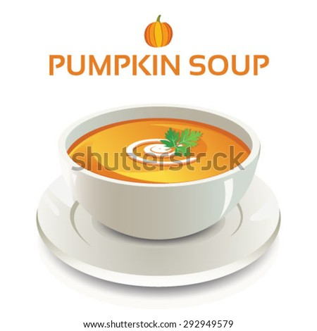 Vector illustration of pumpkin soup in a white ceramic bowl and cream swirl and coriander leaves garnish on isolated background with text and icon - stock vector