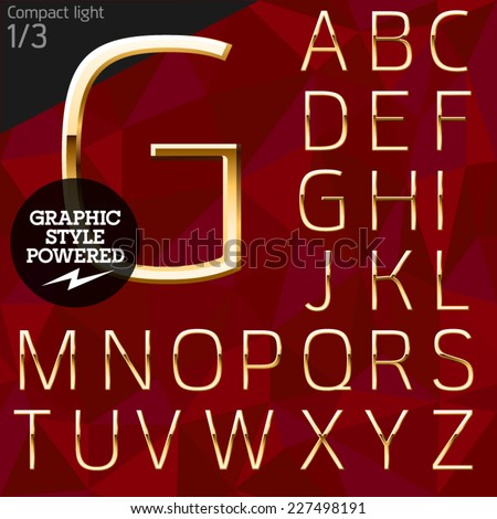 Vector illustration of pure golden font plus graphic styles. Compact normal. File contains graphic styles available in Illustrator - stock vector