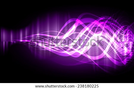 Vector illustration of purple abstract background with blurred magic neon light curved lines. wave. Technology background for computer graphic website internet.