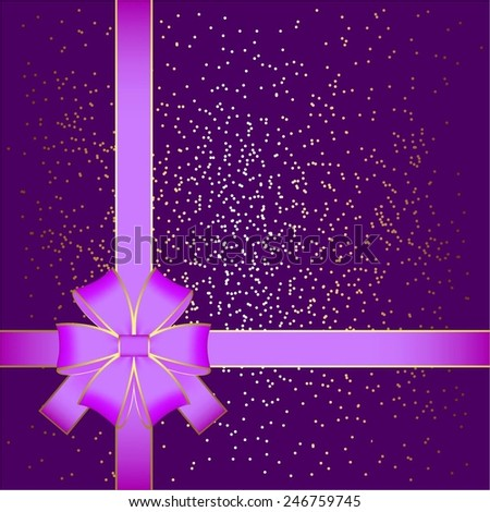Vector illustration of Purple bow on a purple background with sparkles. - stock vector