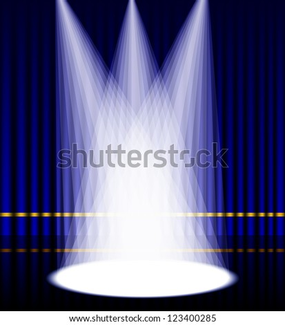 Vector illustration of purple curtain stage with lights. - stock vector