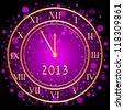 Vector illustration of purple New Year clock - stock photo