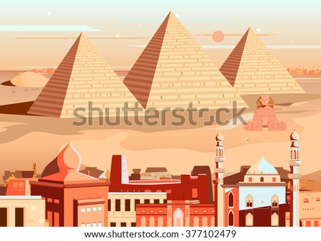 vector illustration of pyramid and Sphinx of Giza, Egypt - stock vector