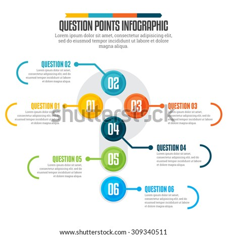 Vector illustration of question points infographic design element. - stock vector
