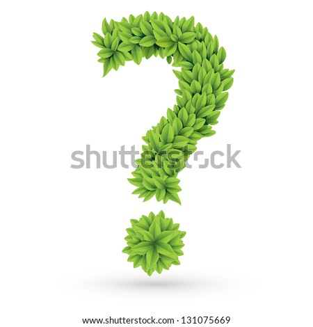 Vector illustration of question sign of green leaves - stock vector