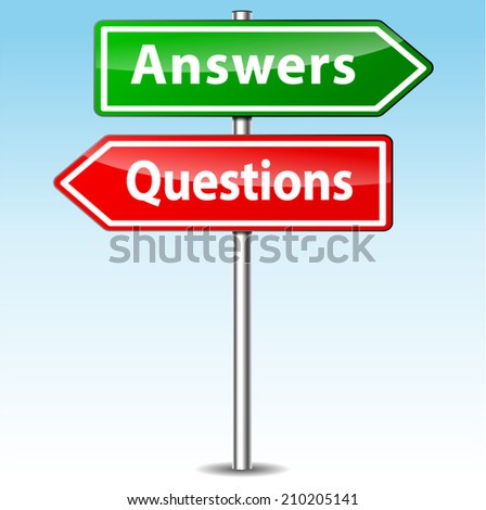 Vector illustration of questions and answers directional sign - stock vector
