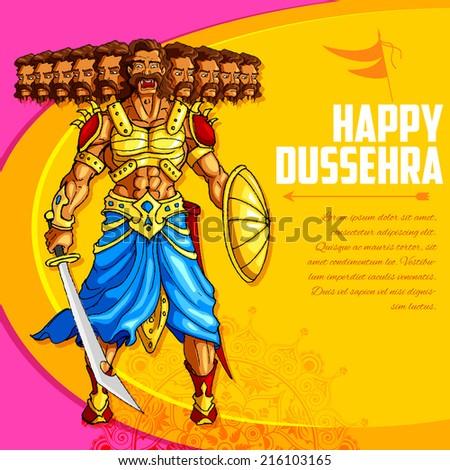 vector illustration of Raavana with ten head holding sword - stock vector