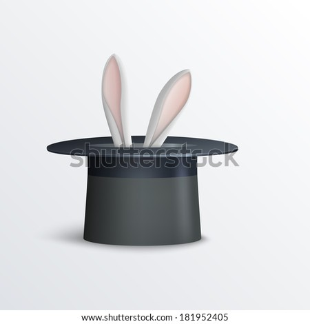Vector illustration of rabbit in magician hat. - stock vector