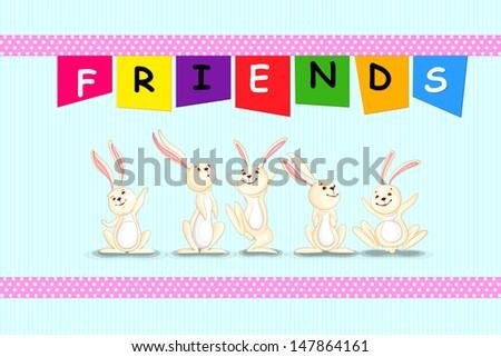 vector illustration of rabbit on Happy Friendship Day - stock vector