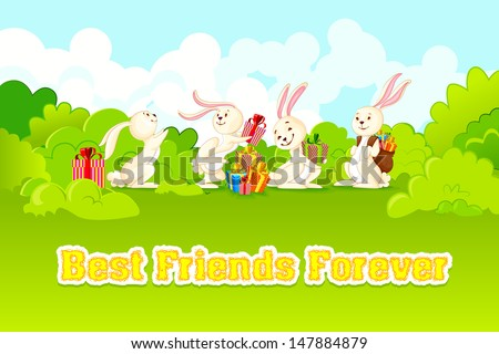 vector illustration of rabbit on Happy Friendship Day - stock vector