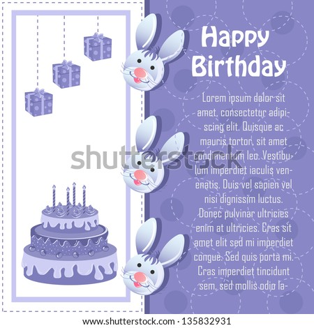 vector illustration of rabbits in Birthday card with cake and gifts - stock vector