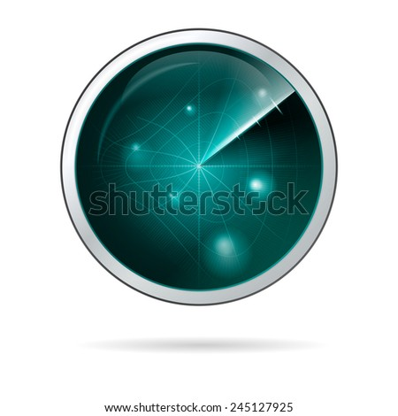 Vector illustration of radar screen with curved grid. Round blue radar screen with curved grid in some anomalous zone. Abstract isolated vector illustration on white background. - stock vector
