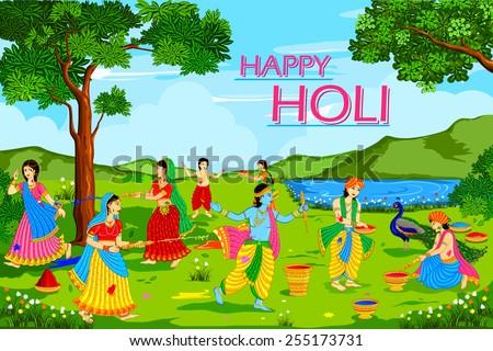 vector illustration of Radha Krishna playing Holi - stock vector
