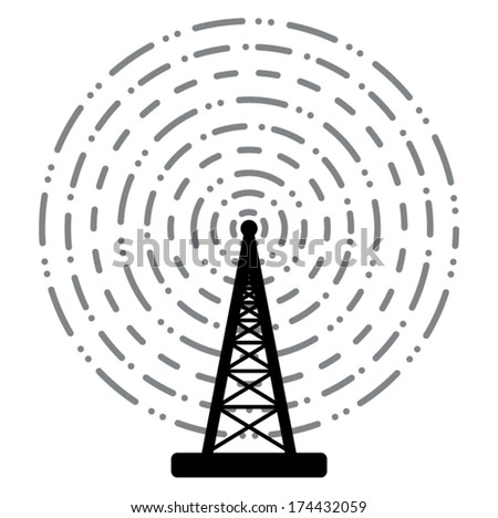 vector illustration of radio tower broadcast  - stock vector