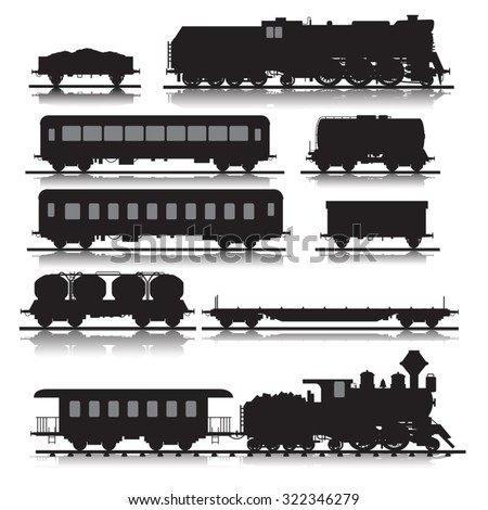 Vector illustration of railway trains consisting of locomotives, platforms for transportation of containers, covered wagons, cisterns, and rail cars - stock vector