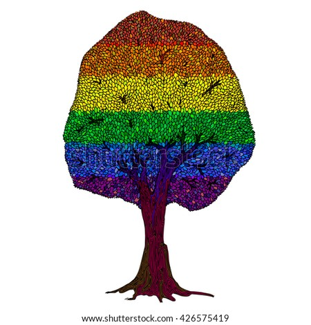 Vector illustration of Rainbow Beech tree isolated on white background. Colorful, red, orange, yellow, green, blue, indigo, violet, purple, white colors.  - stock vector