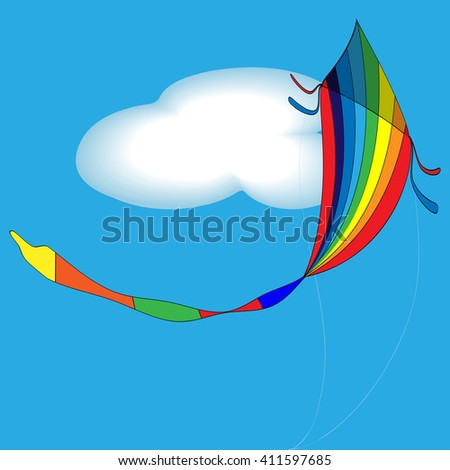 vector illustration of rainbow colored kids toy - kite in the summery sky