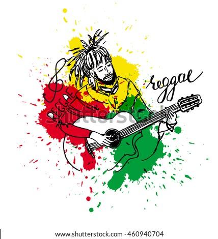 Vector Illustration Of Rastaman Playing Acoustic Guitar Cute Cartoon Rastafarian Guy With Dreadlocks Wearing Red