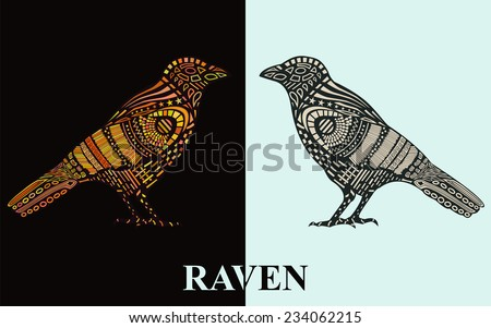 Vector illustration of Raven silhouette with  original pattern on the body. Two variants of colorings. - stock vector