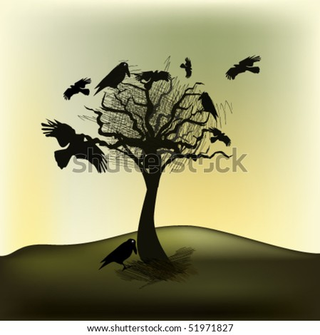 vector illustration of ravens - stock vector