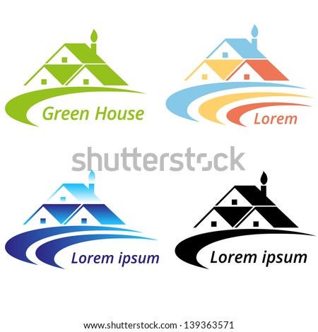 Vector illustration of Real estate and Green house design concept. - stock vector