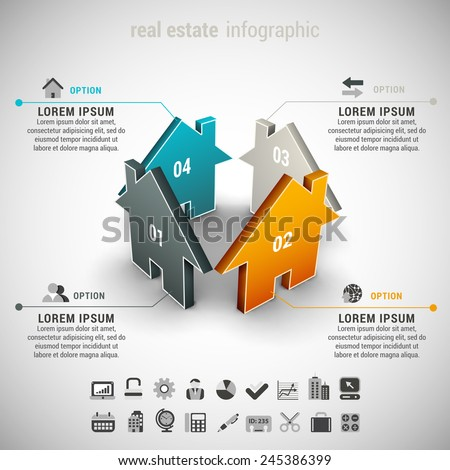 Vector illustration of real estate infographic made of houses. - stock vector