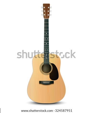 Vector illustration of realistic acoustic guitar - stock vector