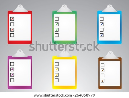 Vector illustration of realistic clipboard, check board, checklist paper with check mark on it isolated on light grey background. Business questionnaire, choice, feedback, evaluation concept. Eps10 - stock vector