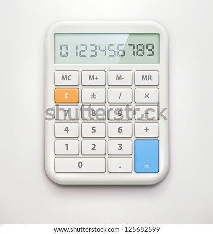 Vector illustration of realistic electronic calculator isolated on soft background. - stock vector