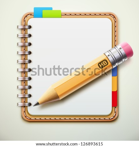 Vector illustration of realistic leather spiral notebook and detailed pencil - stock vector
