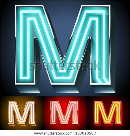 Vector illustration of realistic neon tube alphabet for light board. Gold and Silver and Red options. Letter M - stock vector