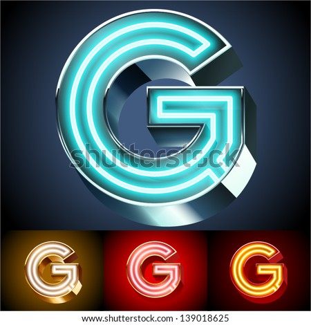 Vector illustration of realistic neon tube alphabet for light board. Gold and Silver and Red options. Letter G - stock vector