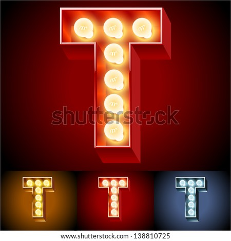 Vector illustration of realistic old lamp alphabet for light board. Red Gold and Silver options. Letter T - stock vector