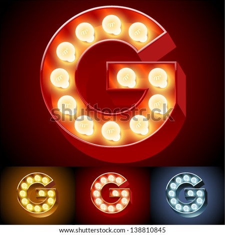 Vector illustration of realistic old lamp alphabet for light board. Red Gold and Silver options. Letter G - stock vector