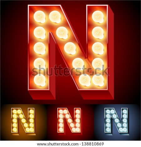 Vector illustration of realistic old lamp alphabet for light board. Red Gold and Silver options. Letter N