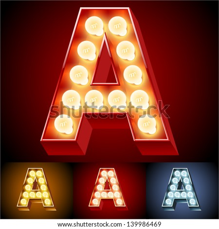 Vector illustration of realistic old lamp alphabet for light board. Red Gold and Silver options. Letter A - stock vector