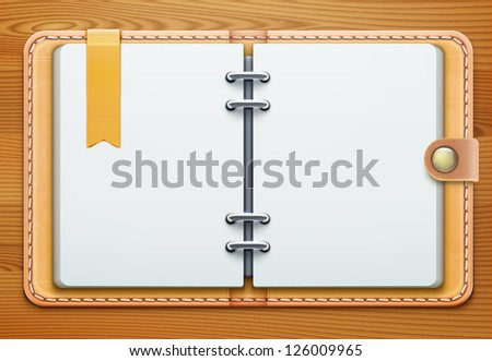 Vector illustration of realistic overhead view of a leather personal organiser/planner - stock vector