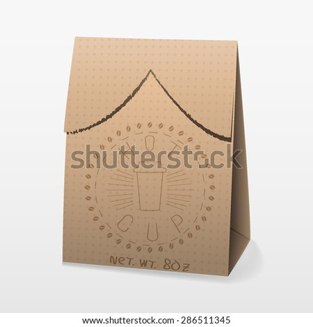 Vector illustration of realistic paper packaging coffee bag with logo - stock vector