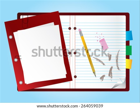 Vector illustration of realistic red notebook with blank file sheet papers pencil crayon, eraser, scribbling on it isolated on blue background. Business plan schedule office work, study concept. Eps10 - stock vector