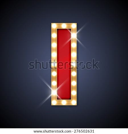 Vector illustration of realistic retro signboard letter I. Part of alphabet including special European letters. - stock vector