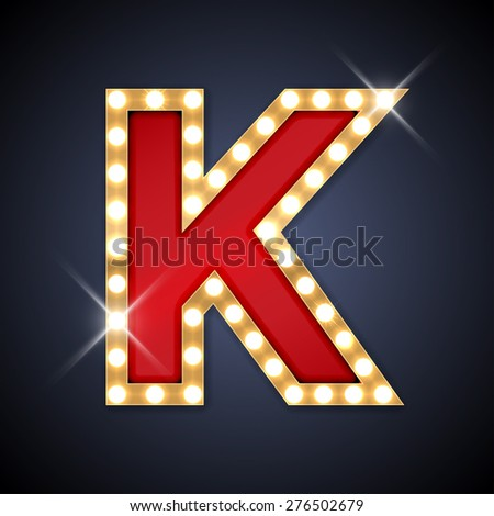 Vector illustration of realistic retro signboard letter K. Part of alphabet including special European letters. - stock vector