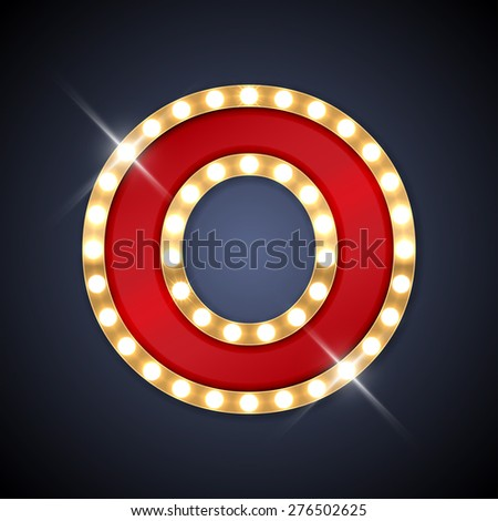 Vector illustration of realistic retro signboard letter O. Part of alphabet including special European letters. - stock vector