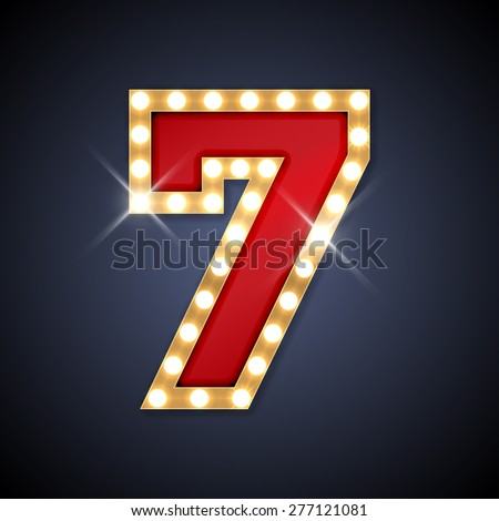 Vector illustration of realistic retro signboard number 7 (seven). Part of alphabet including special European letters. - stock vector