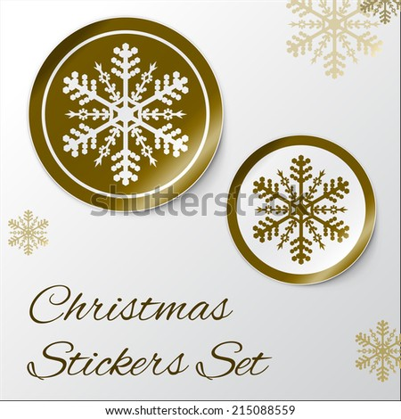 Vector illustration of Realistic Round Stickers or Icons. With peeled off corner and shadow. Golden Christmas theme with snowflake. EPS 10 - stock vector